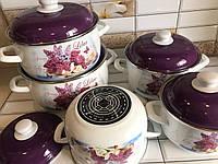 Набор эмалированной посуды с крышками из 10 предметов. Эмалированные кастрюли Edenberg EB-1872NW