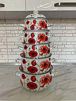 Набор эмалированной посуды с крышками из 10 предметов. Эмалированные кастрюли Edenberg EB-1875