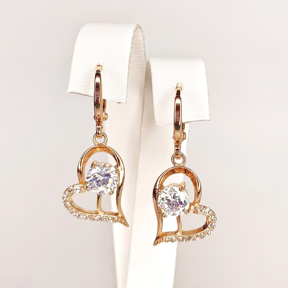 Сережки Xuping з медичного золота, білі фіаніти, позолота PO, 24890