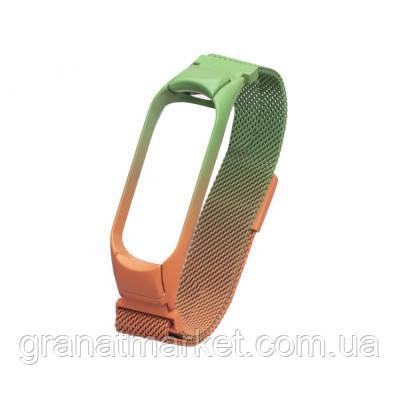 Ремешок для Xiaomi Mi Band 3 / 4 Milanese Loop Gradient Magnetic Цвет 02, Оранжево-Зелёный