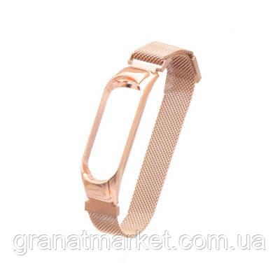 Ремешок для Xiaomi Mi Band 3 / 4 Milanese Loop Цвет Розово-Золотой