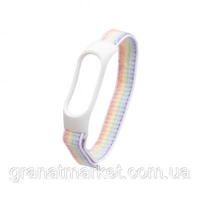 Ремешок для Xiaomi Mi Band 3 / 4 Nylon Цвет Бело-Радужный