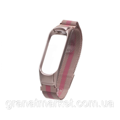 Ремешок для Xiaomi Mi Band 4 Milanese Loop Color Цвет Розово-Малиновый