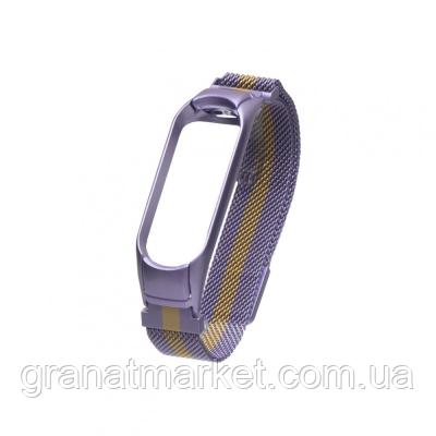 Ремешок для Xiaomi Mi Band 4 Milanese Loop Color Цвет Фиолетово-Золотой