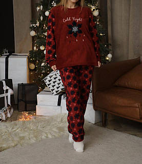 Женская теплая домашняя пижама велсофт новогодняя больших размеров