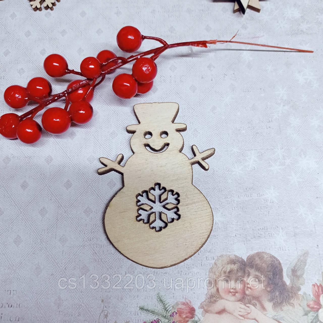 """Фігурка новорічна """"сніговик"""" 10*7см (фанера 4мм)"""