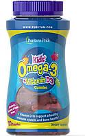 Puritan's Pride Children's Omega 3, DHA & D3 Gummies Детские жевательные конфеты с Омега-3 120 шт.