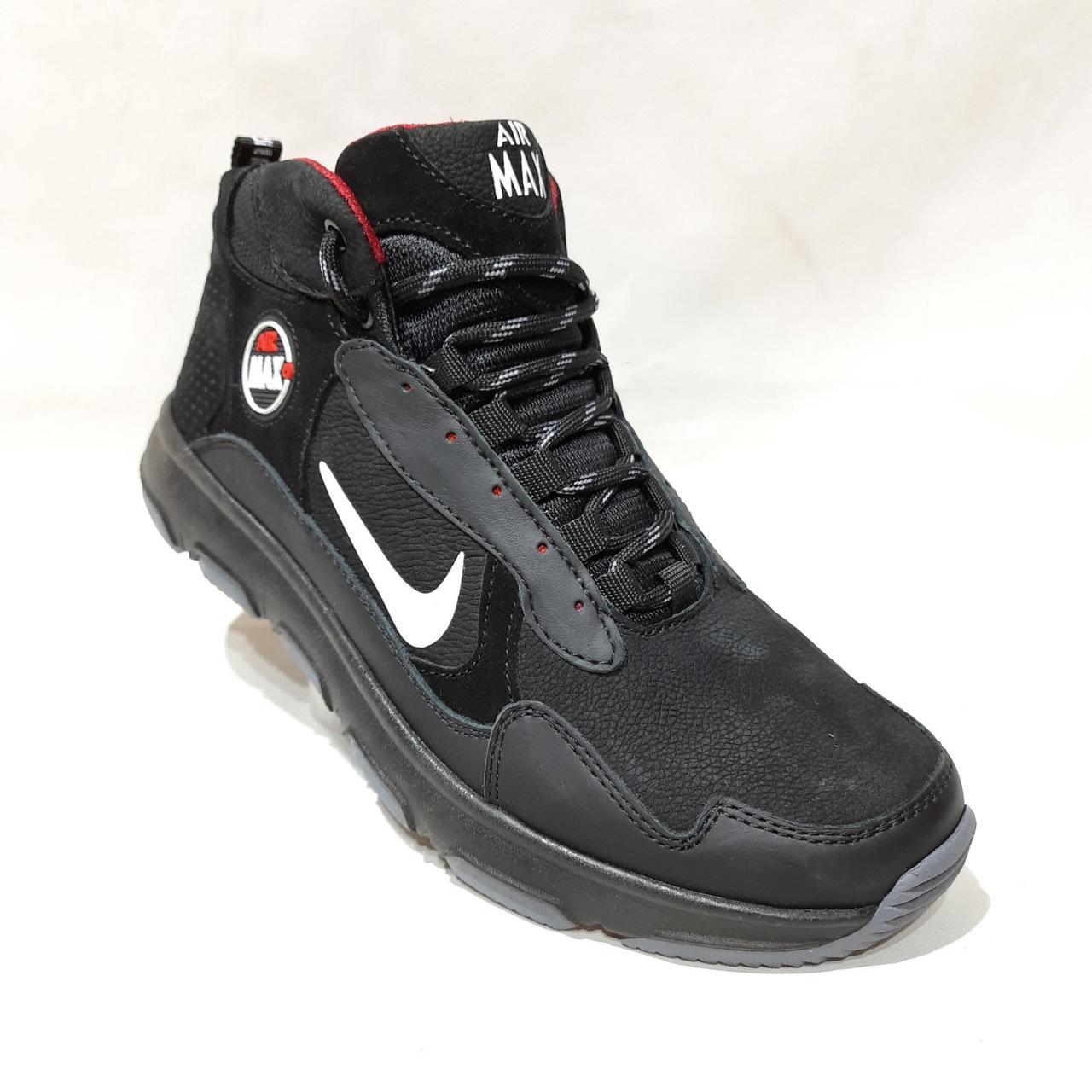 Зимние мужские ботинки из натуральной кожи теплые кроссовки на меху Черные