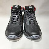 Зимові чоловічі черевики з натуральної шкіри теплі кросівки на хутрі Чорні, фото 2
