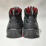 Зимові чоловічі черевики з натуральної шкіри теплі кросівки на хутрі Чорні, фото 7