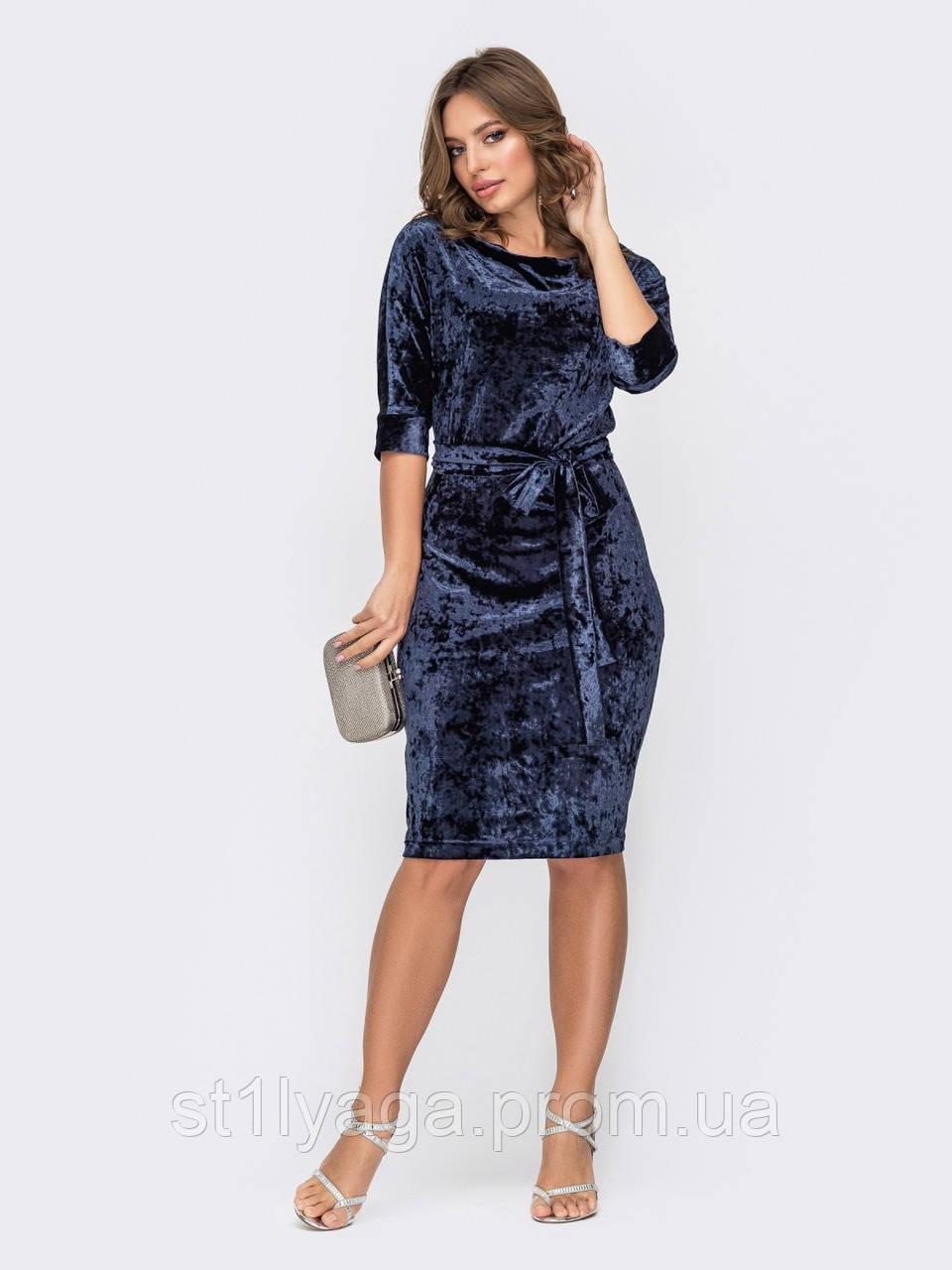 Темно-синє плаття міді з оксамиту