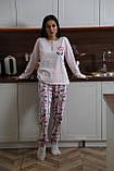 Женская теплая домашняя пижама с милыми принтами, фото 2