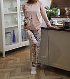 Женская теплая домашняя пижама с милыми принтами, фото 8