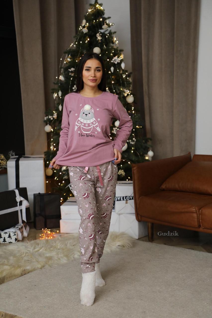 Женская теплая домашняя пижама с милыми принтами