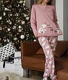 Женская теплая домашняя пижама с милыми принтами, фото 10