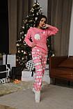 Женская теплая домашняя пижама с милыми принтами, фото 9