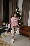 Женская теплая домашняя пижама с милыми принтами, фото 3