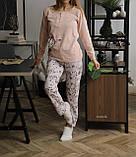 Женская теплая домашняя пижама с милыми принтами, фото 4