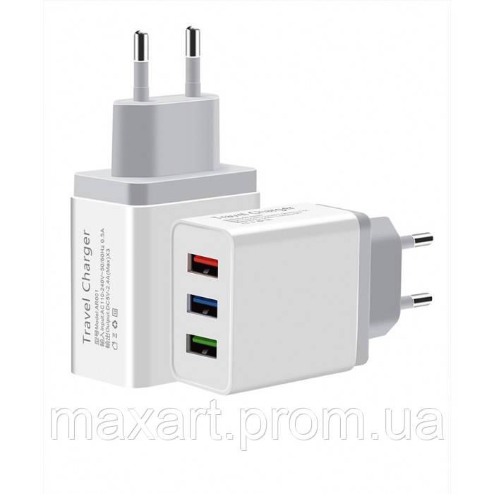 Сетевое зарядное устройство UKC 4758 Fast Charge AR 001 c 3 USB портами