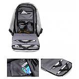 Рюкзак АНТИВОР Bobby c защитой от карманников и с USB зарядным устройством Серый, фото 2
