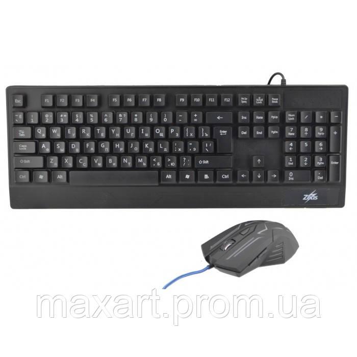 Русская проводная клавиатура + мышка Zeus M710 с подсветкой