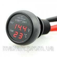 Автомобильный термометр - вольтметр - USB VST 706-1
