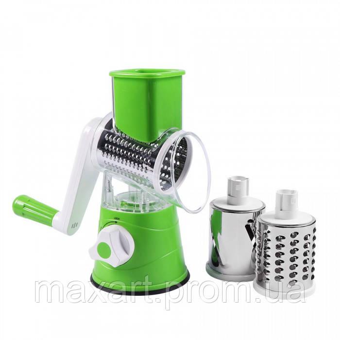 Ручная овощерезка-терка с насадками Kitchen Master 5140 зелёная