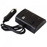 Автомобильный разветвитель тройник UKC 1506A + 2 USB 120W Чёрный, фото 2