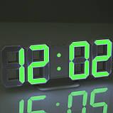 Электронные настольные LED часы с будильником и термометром Caixing CX-2218 белые (зеленная подсветка), фото 4