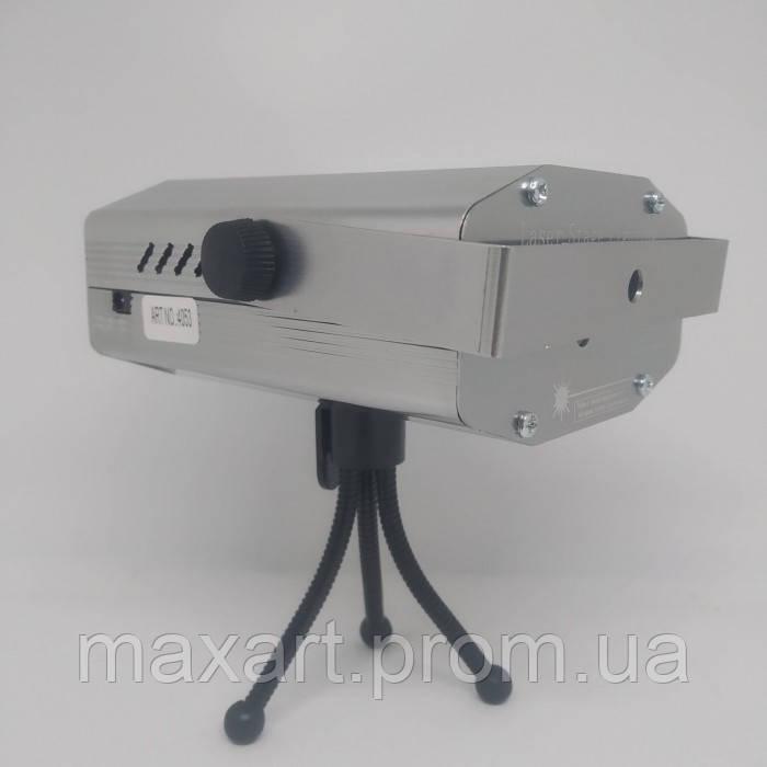 Лазерный проектор, стробоскоп, диско лазер UKC HJ08 4 в 1 c триногой Серый 4053