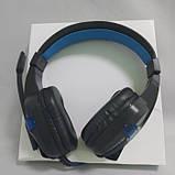 Игровые проводные наушники SOYTO SY850MV с микрофоном Чёрные с Синим, фото 2