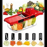 Овощерезка для овощей и фруктов Mandoline Slicer 6 in 1 c контейнером, слайсер , терка, фото 3