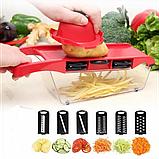 Овощерезка для овощей и фруктов Mandoline Slicer 6 in 1 c контейнером, слайсер , терка, фото 7