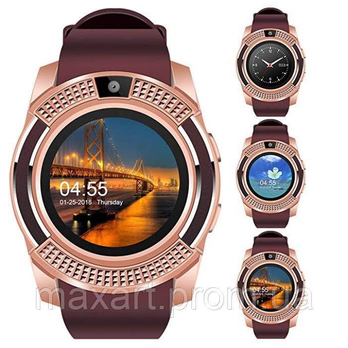 Сенсорные Smart Watch V8 смарт часы умные часы Золотые