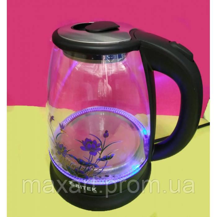 Электро чайник ВIТЕК ВТ-3111 2400W 1,8L стекло с подсветкой Чёрный