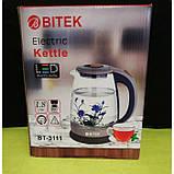 Электро чайник ВIТЕК ВТ-3111 2400W 1,8L стекло с подсветкой Чёрный, фото 2