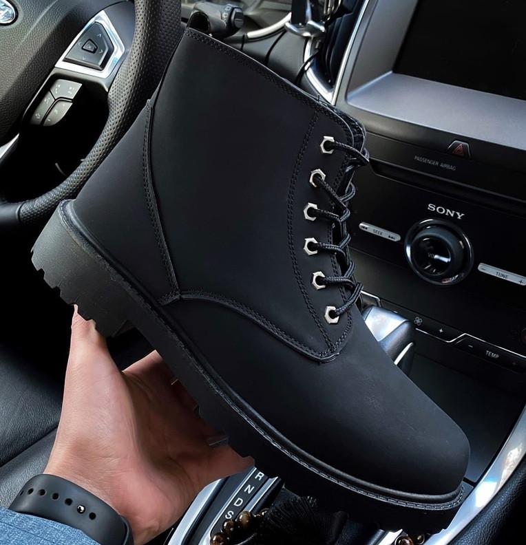 Ботинки мужские зимние с мехом Тимбо| ботинки теплые черные. Живое фото