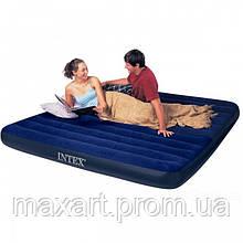 Матрас Intex Велюр 64755 синий, набор, 203х183х25см