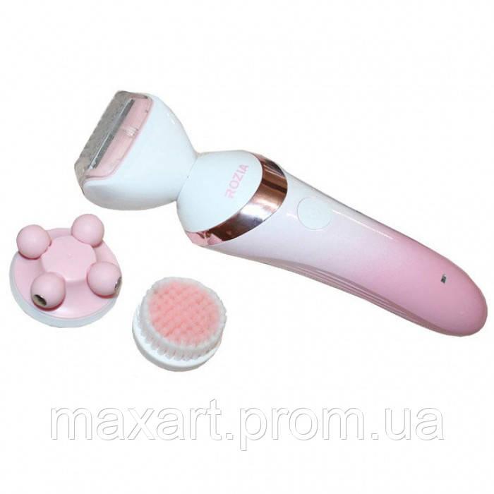 Женская Электробритва 3 в 1 Rozia HB-6008 триммер + массажная насадка + насадка для очищения лица