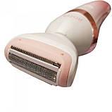 Женская Электробритва 3 в 1 Rozia HB-6008 триммер + массажная насадка + насадка для очищения лица, фото 5