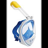 Полнолицевая панорамная маска для плавания FREE BREATH (L/XL) M2068G с креплением для камеры Синий, фото 2