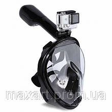 Полнолицевая панорамная маска для плавания FREE BREATH (L/XL) M2068G с креплением для камеры Черный