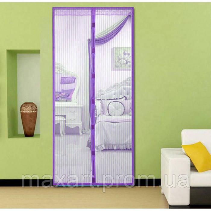 Анти москитная сетка штора на магнитах Magic Mesh 100*210 см Фиолетовая