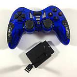 Беспроводной Джойстик 6 в 1 для ПК/PS2/PS3/PC360/ANDROID TV/WIN10 вибро Синий, фото 3