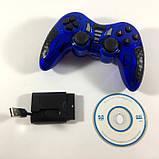 Беспроводной Джойстик 6 в 1 для ПК/PS2/PS3/PC360/ANDROID TV/WIN10 вибро Синий, фото 4