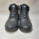 Мужские зимние спортивные кожаные ботинки теплые кроссовки на меху Черные, фото 2
