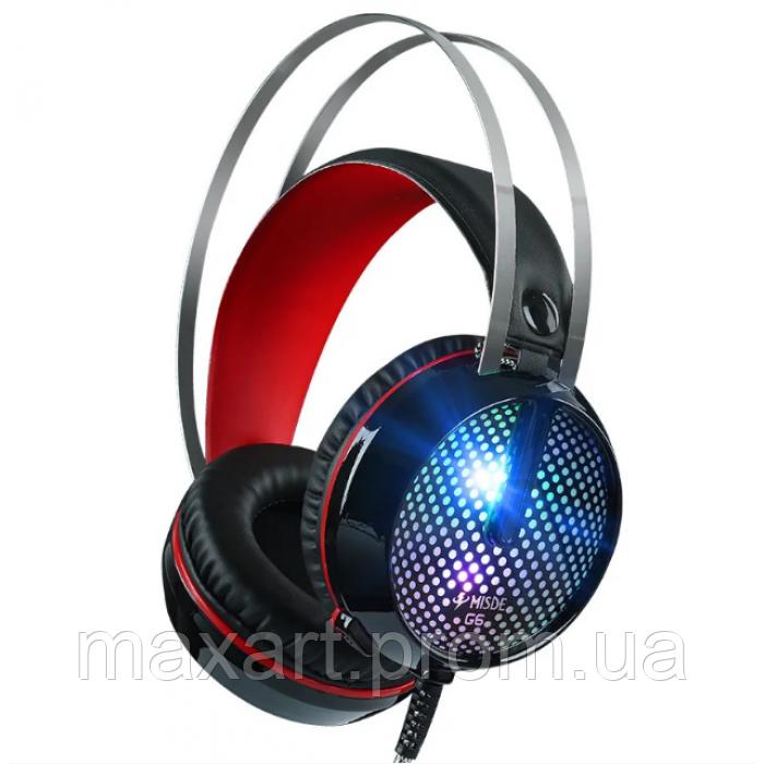 Игровые проводные наушники MISDE G6 со светодиодной подсветкой Чёрные с красным