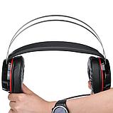 Игровые проводные наушники MISDE G6 со светодиодной подсветкой Чёрные с красным, фото 2