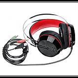 Игровые проводные наушники MISDE G6 со светодиодной подсветкой Чёрные с красным, фото 4