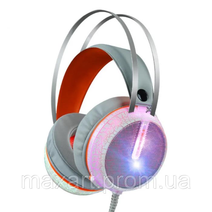 Игровые проводные наушники MISDE G6 со светодиодной подсветкой Белые с оранжевым